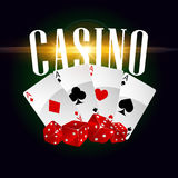Casino cards and dices vector poster Royalty Free Stock Photography