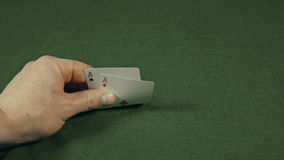 Casino, cards two aces open. Casino, men cards two aces open stock video