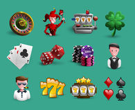 Casino Cartoon Icons Set Stock Photos