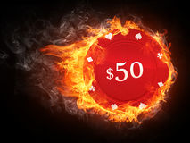 Casino Chip. In Fire. Computer Graphics royalty free illustration