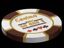 Casino chip. Chip for the casino on a black background stock illustration