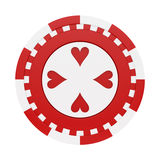 Casino chip. Render of a casino chip with red hearts, isolated on white stock illustration
