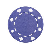 Casino Chip. Blue Casino Chip With Symbols On White Background royalty free stock images