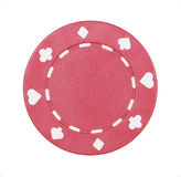 Casino Chip. Red Casino Chip With Symbols On White Background stock image