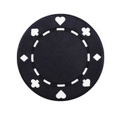 Casino Chip. Black Casino Chip With Symbols On White Background stock photo