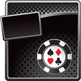 Casino chip on black halftone advertisement Royalty Free Stock Image