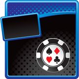 Casino chip on blue and black halftone template Royalty Free Stock Images