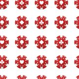 Casino chip. Red color. Vector illustration. Seamless pattern background royalty free illustration