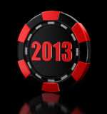 Casino chip 2013 (clipping path included). Casino chip 2013. Image with clipping path Royalty Free Stock Images