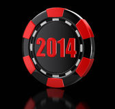 Casino chip 2014 (clipping path included) Royalty Free Stock Photography