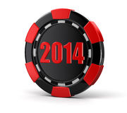 Casino chip 2014 (clipping path included) Royalty Free Stock Photos