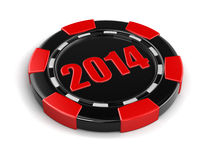 Casino chip 2014 (clipping path included) Stock Photography