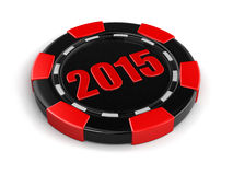 Casino chip 2015 (clipping path included) Royalty Free Stock Photos