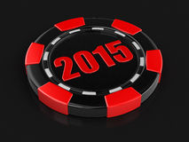 Casino chip 2015 (clipping path included) Royalty Free Stock Photo