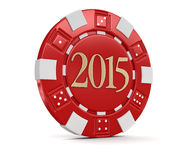 Casino chip 2015 (clipping path included) Royalty Free Stock Photography