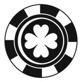 Casino chip clover icon, simple style vector illustration