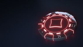 Casino Chip diamonds Concept with glowing neon red lights and Dice dots isolated on the black background - 3D Illustration royalty free illustration