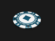 Casino chip with diamonds signes isolated balck. 3d Illustration Royalty Free Stock Image