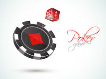 Casino chip with dice for Poker game. 3D Casino chip with red dice for Poker Game on shiny background stock illustration