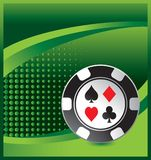 Casino chip on green halftone advertisement Stock Images