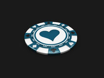 Casino chip with hearts signes isolated balck background. 3d Illustration Royalty Free Stock Photos