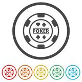 Casino chip icon, Poker icon, 6 Colors Included. Simple vector icons set stock illustration