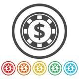Casino chip icons set. Vector icon vector illustration