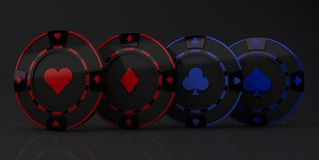 Casino Chip multi seeds Concept carbon material blue and red color isolated on black background - 3D render. Illustration royalty free illustration