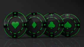 Casino Chip multi seeds Concept carbon material reen color isolated on black background - 3D render. Illustration royalty free illustration