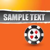 Casino chip on orange ripped banner. Template vector illustration
