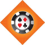 Casino chip on orange starburst Stock Images