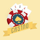 Casino chip with playing card. Royalty Free Stock Image