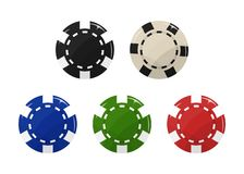 Casino chip set. Black, blue, red, green and white Vector illustration vector illustration