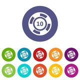 Casino chip set icons Royalty Free Stock Image