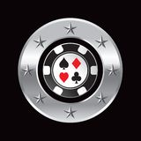 Casino chip in silver circle star Stock Photography