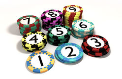 Casino Chip Stacked In Quantity Order Stock Images