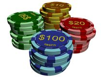 Casino chip stacks Stock Image