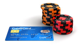 Casino Chip Stacks And Credit Card Royalty Free Stock Photography