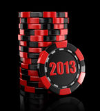Casino chip stacks 2013 (clipping path included). Casino chip stacks. Image with clipping path Royalty Free Stock Photos