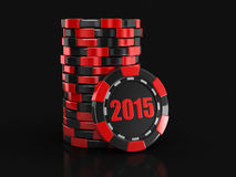 Casino chip stacks 2015 (clipping path included) Royalty Free Stock Photo