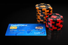 Casino chip stacks and Credit Card Stock Photography
