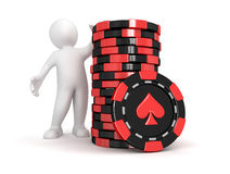 Casino chip stacks and man  (clipping path included) Royalty Free Stock Images
