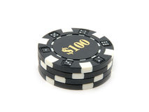 Casino Chips $100. Stack of $100.00 casino chips royalty free stock photos
