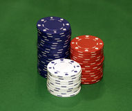 Casino Chips. Stacks On Green Background Royalty Free Stock Photo