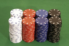 Casino Chips. 8 Stacks - 2 Rows Stock Photography