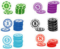 Casino chips. Illustration of different casino chips Royalty Free Stock Photos