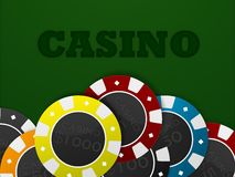 Casino chips. In green background (illustration). Casino sign Royalty Free Stock Photo