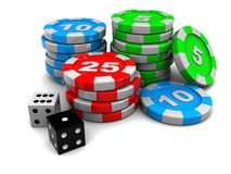 Casino chips. 3d illustration of casino chips and two dices, over white background Royalty Free Stock Images