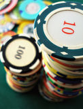 Casino chips. Two pile of a casino chips royalty free stock photos