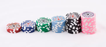 Casino chips. A pyramid made of casino chips Stock Image